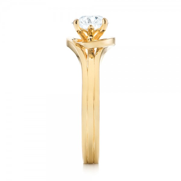 Custom Yellow Gold Solitaire Diamond Engagement Ring - Side View