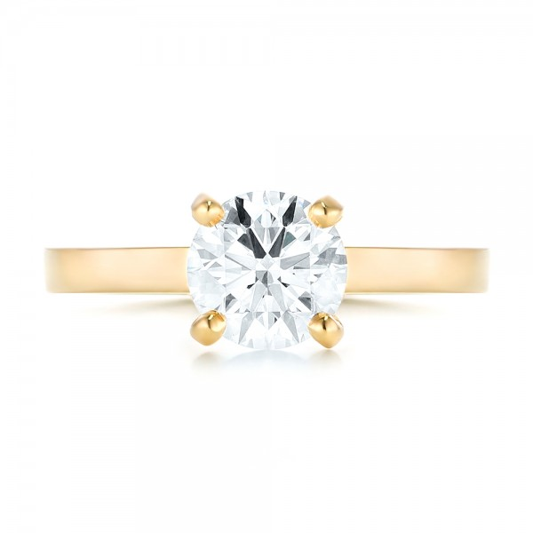 Custom Yellow Gold Solitaire Diamond Engagement RIng - Top View