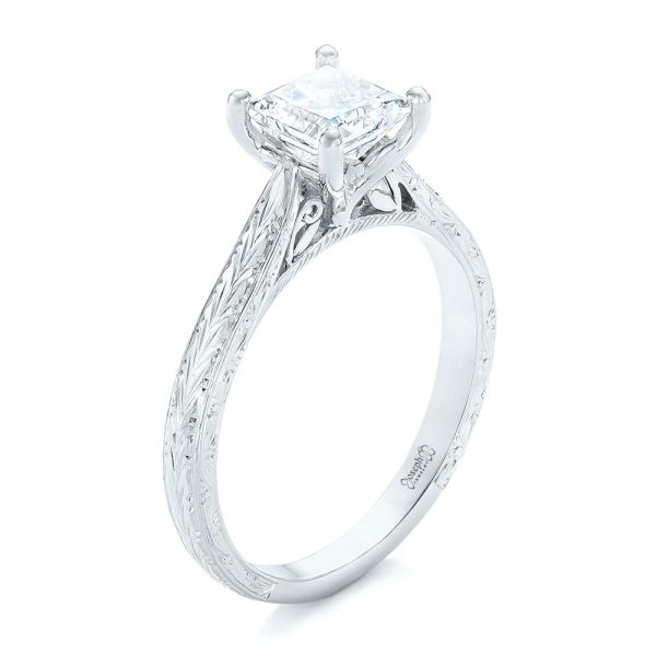 14k White Gold 14k White Gold Custom Solitaire Diamond Engagement Ring - Three-Quarter View -  102605