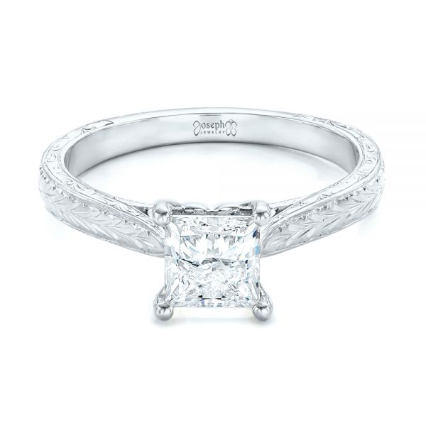 14k White Gold 14k White Gold Custom Solitaire Diamond Engagement Ring - Flat View -  102605