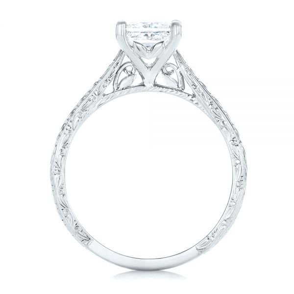14k White Gold 14k White Gold Custom Solitaire Diamond Engagement Ring - Front View -  102605