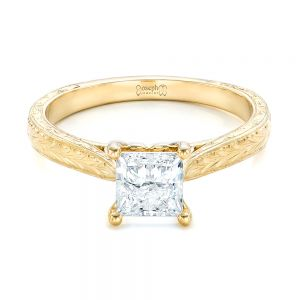 Custom Yellow Gold Solitaire Diamond Engagement Ring
