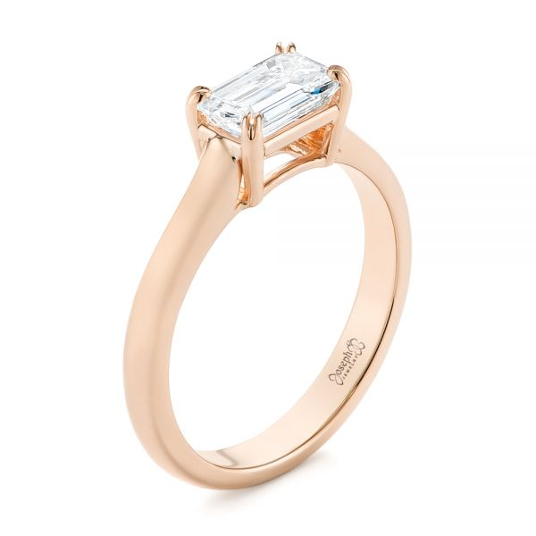 18k Rose Gold 18k Rose Gold Custom Solitaire Engagement Ring - Three-Quarter View -  104066