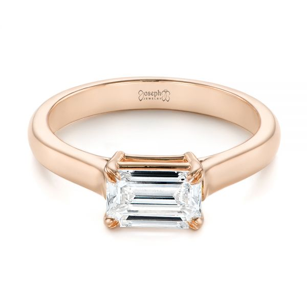 18k Rose Gold 18k Rose Gold Custom Solitaire Engagement Ring - Flat View -  104066