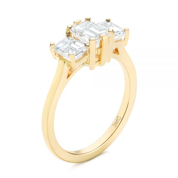 Custom Yellow Gold Three Stone Diamond Engagement Ring - Image