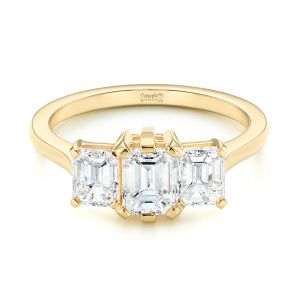 Custom Yellow Gold Three Stone Diamond Engagement Ring