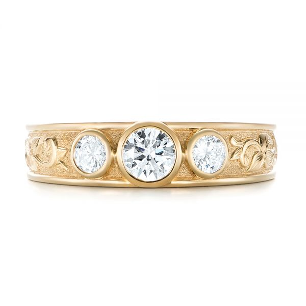 Custom Yellow Gold Three Stone Diamond Engagement Ring - Top View -  103520 - Thumbnail