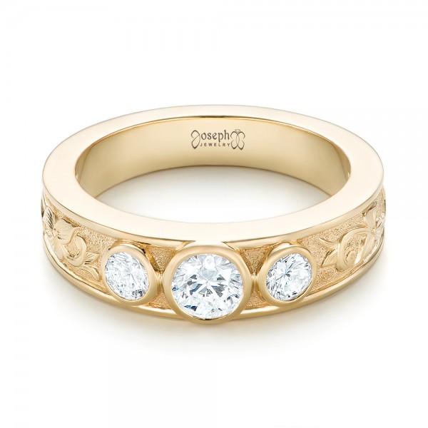 Custom Yellow Gold Three Stone Diamond Engagement Ring - Laying View