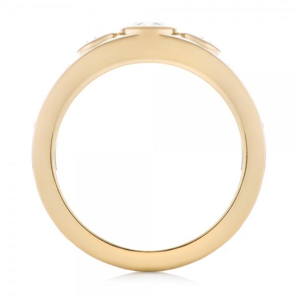Custom Yellow Gold Three Stone Diamond Engagement Ring - Finger Through View
