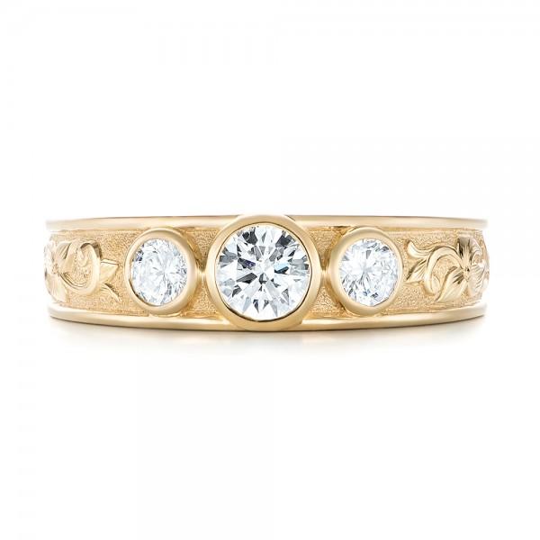 Custom Yellow Gold Three Stone Diamond Engagement Ring - Top View