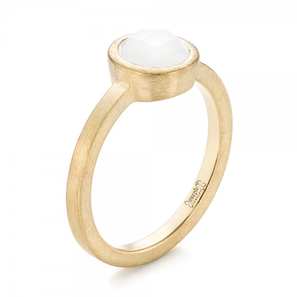 Custom Yellow Gold White Jade Solitaire Engagement Ring - Image