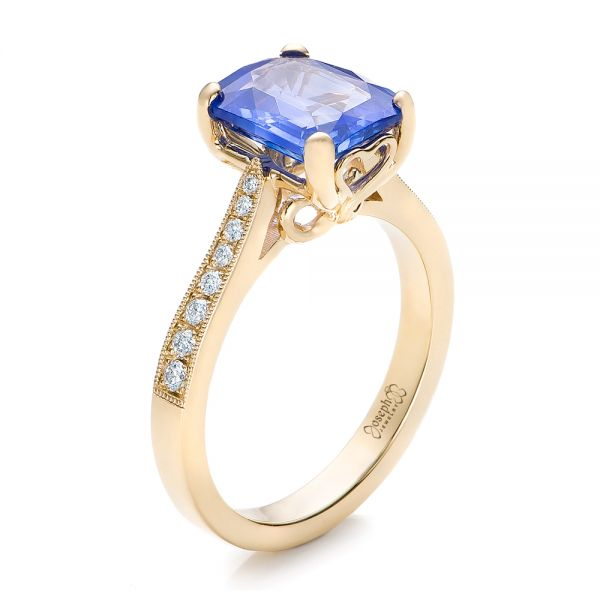 Custom Yellow Gold and Blue Sapphire Engagement Ring