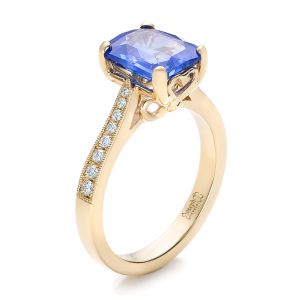 Custom Yellow Gold and Blue Sapphire Engagement Ring - Image