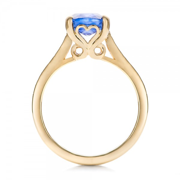 Custom Yellow Gold and Blue Sapphire Engagement Ring - Finger Through View