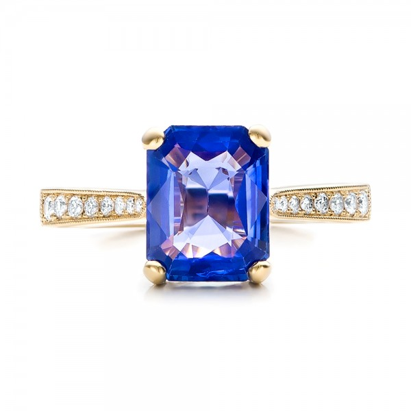 Custom Yellow Gold and Blue Sapphire Engagement Ring - Top View