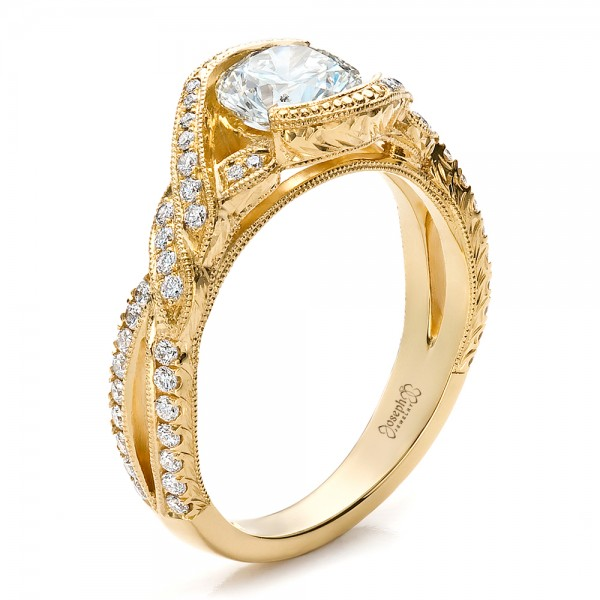 Custom Yellow Gold and Diamond Engagement Ring