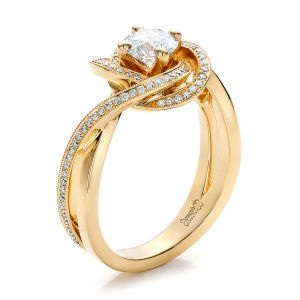 Custom Yellow Gold and Diamond Engagement Ring - Image