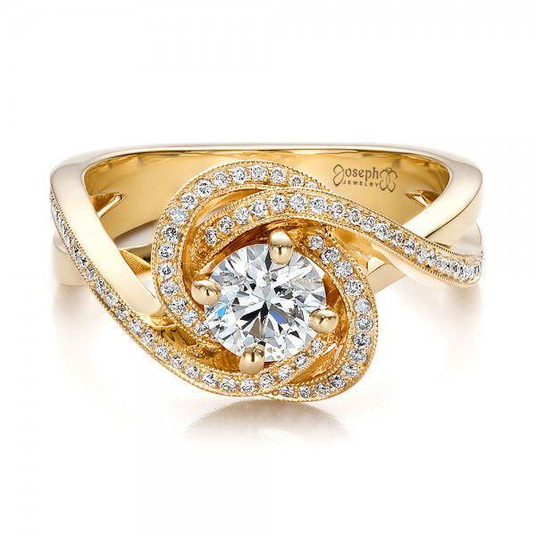 Custom Yellow Gold and Diamond Engagement Ring - Flat View -  100433 - Thumbnail