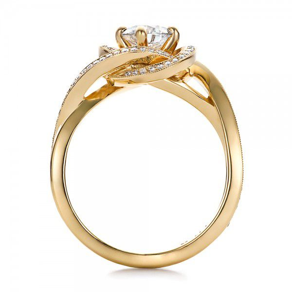 Custom Yellow Gold and Diamond Engagement Ring - Front View -  100433 - Thumbnail
