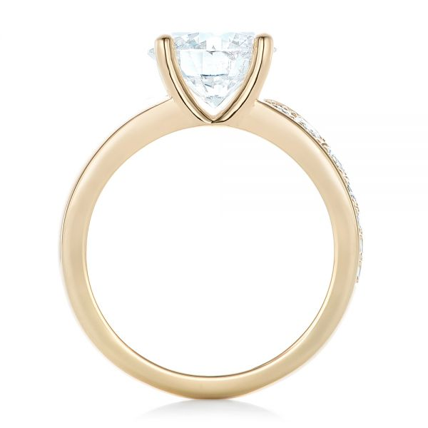 Custom Yellow Gold and Diamond Engagement Ring - Front View -  102283 - Thumbnail