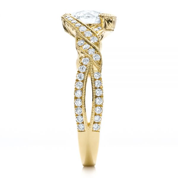 18k Yellow Gold Custom Diamond Engagement Ring - Side View -