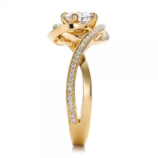 Custom Yellow Gold and Diamond Engagement Ring - Side View -  100433 - Thumbnail