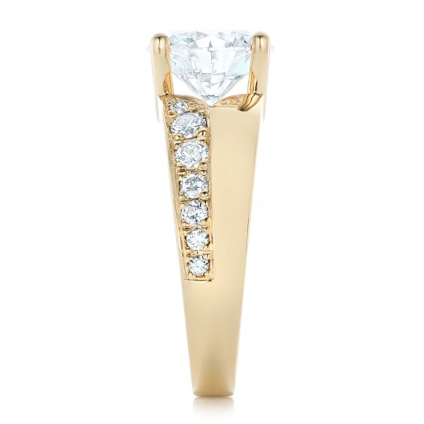 Custom Yellow Gold and Diamond Engagement Ring - Side View -  102283 - Thumbnail