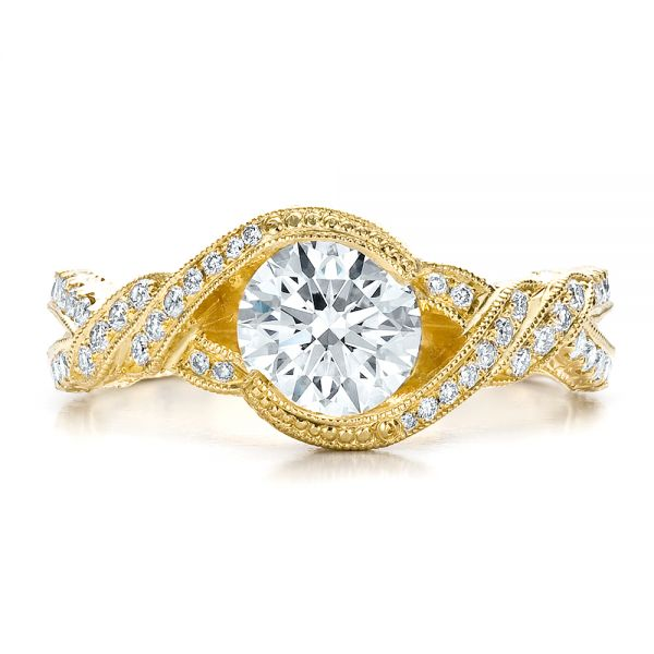 18k Yellow Gold Custom Diamond Engagement Ring - Top View -