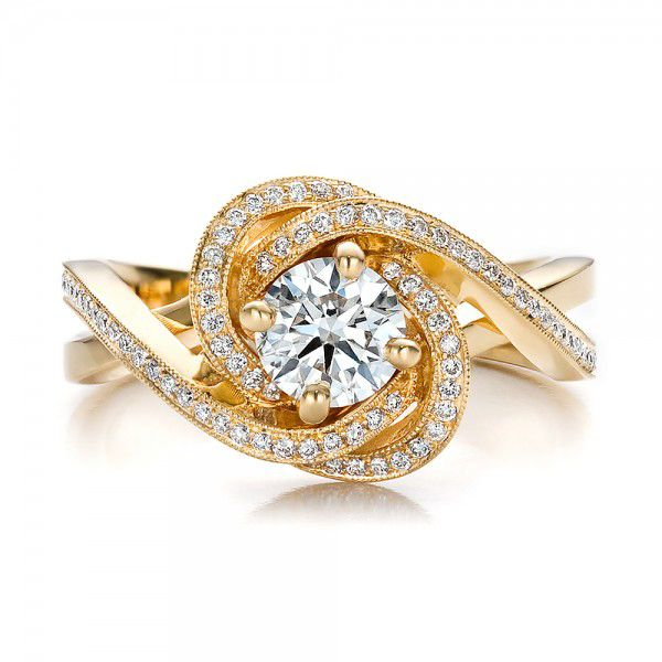 Custom Yellow Gold and Diamond Engagement Ring - Top View -  100433 - Thumbnail