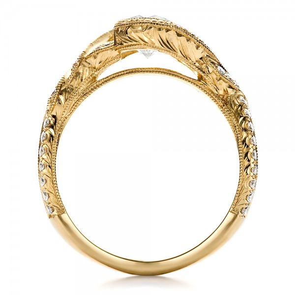 Custom Yellow Gold and Diamond Engagement Ring - Finger Through View
