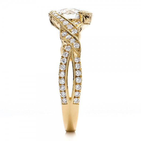 Custom Yellow Gold and Diamond Engagement Ring - Side View