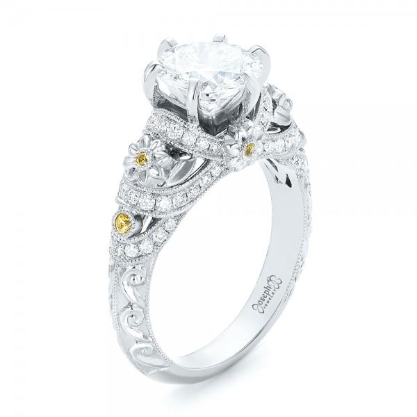 Custom Yellow Sapphire and Diamond Engagement Ring