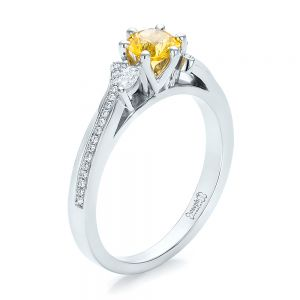 Custom Yellow Sapphire and Diamond Engagement Ring - Image