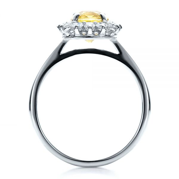 14k White Gold Custom Yellow Sapphire And Diamond Engagement Ring - Front View -