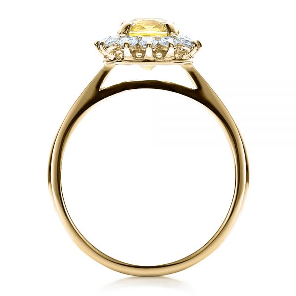 18k Yellow Gold 18k Yellow Gold Custom Yellow Sapphire And Diamond Engagement Ring - Front View -