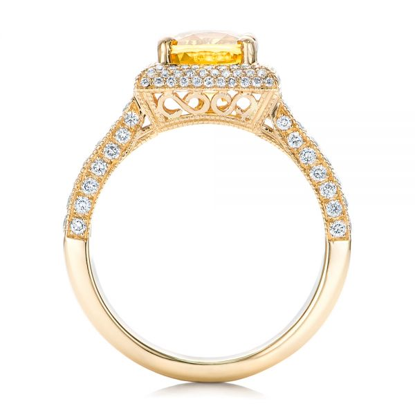 14k Yellow Gold Custom Yellow Sapphire And Diamond Engagement Ring - Front View -