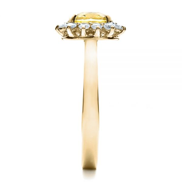 18k Yellow Gold 18k Yellow Gold Custom Yellow Sapphire And Diamond Engagement Ring - Side View -