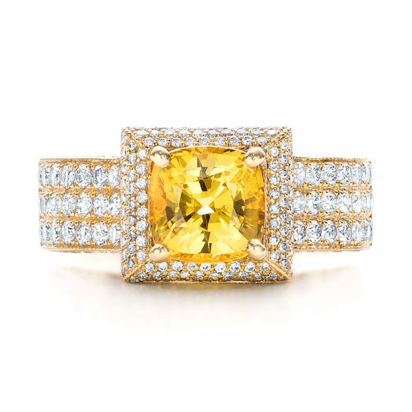 14k Yellow Gold Custom Yellow Sapphire And Diamond Engagement Ring - Top View -