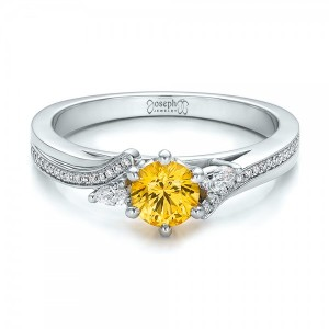 Custom Yellow Sapphire and Diamond Engagement Ring