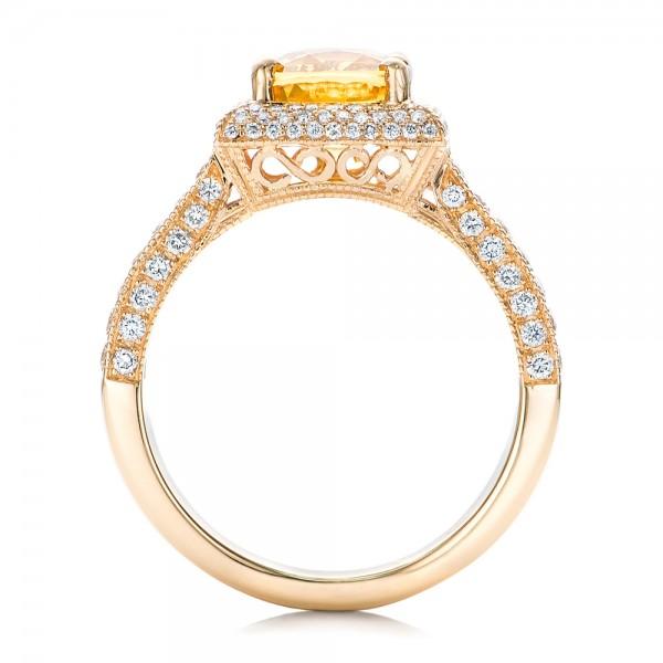 Custom Yellow Sapphire and Diamond Engagement Ring - Finger Through View