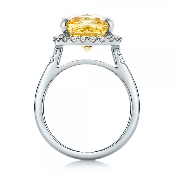Custom Yellow Sapphire and Diamond Engagement Ring - Finger Through View
