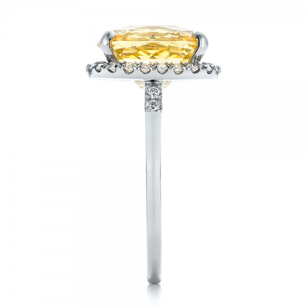 Custom Yellow Sapphire and Diamond Engagement Ring - Side View