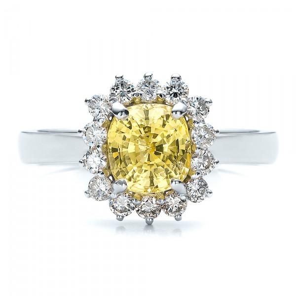 Custom Yellow Sapphire And Diamond Engagement Ring 100036