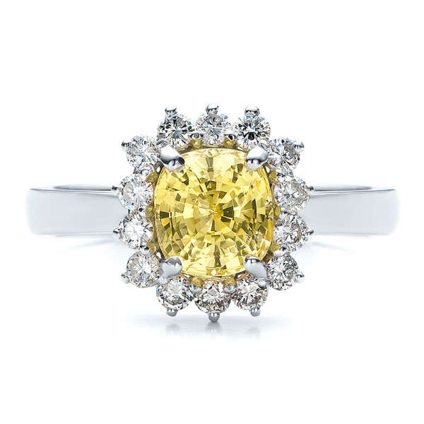 Custom Yellow Sapphire and Diamond Engagement Ring - Top View