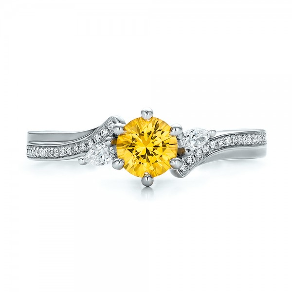 Custom Yellow Sapphire and Diamond Engagement Ring - Top View