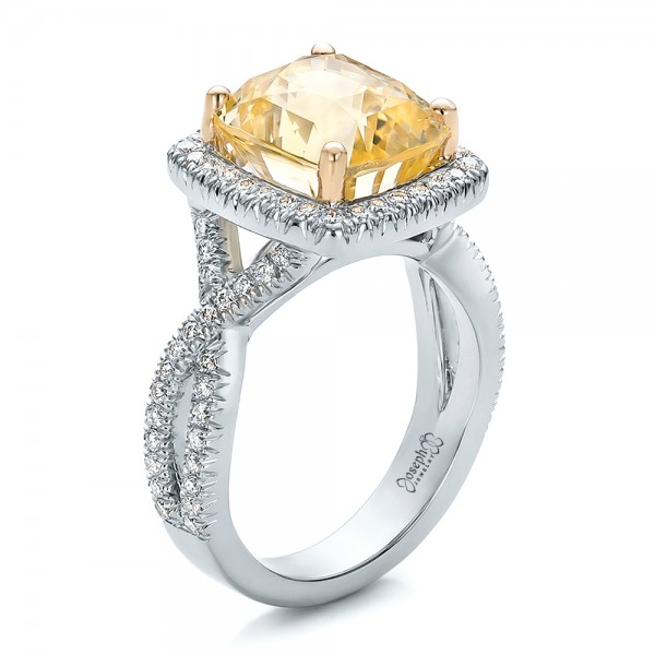Custom Yellow Sapphire and Diamond Halo Engagement Ring