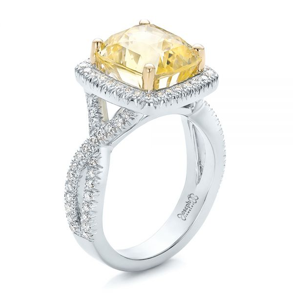 Custom Yellow Sapphire and Diamond Halo Engagement Ring - Image
