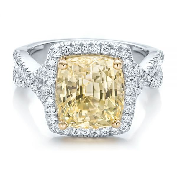 Custom Yellow Sapphire and Diamond Halo Engagement Ring - Flat View -  100594 - Thumbnail