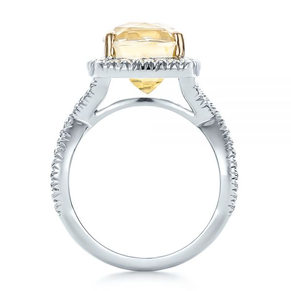 Custom Yellow Sapphire and Diamond Halo Engagement Ring - Front View -  100594 - Thumbnail