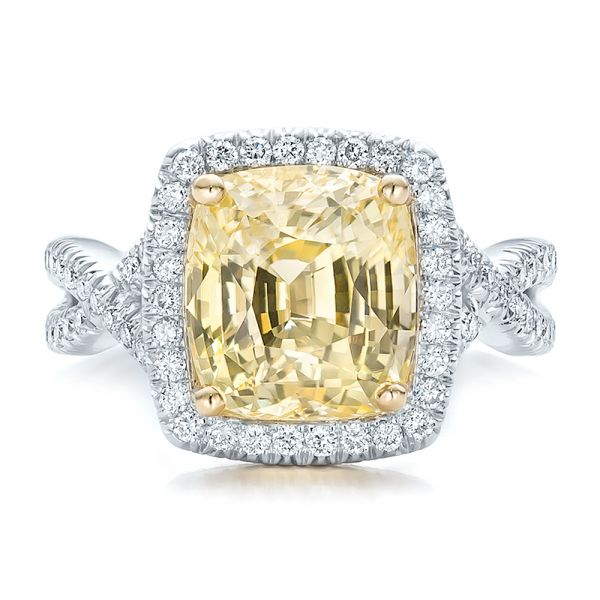 Custom Yellow Sapphire and Diamond Halo Engagement Ring - Top View -  100594 - Thumbnail